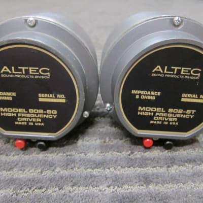 Pr Altec 802-8G-T Horn Drivers, Alnico Largest Format, Tangerine Phase Plugs, USA Aluminum Coils, Ex