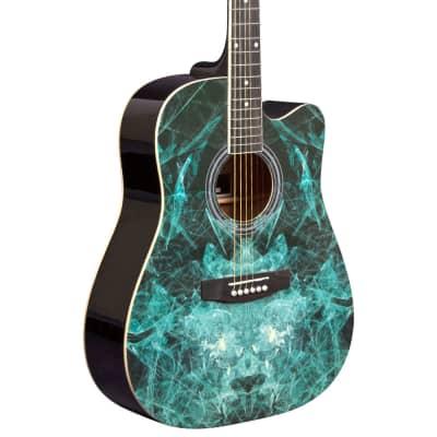 Lindo Blue Fractal Apprentice Series 42C Acoustic Guitar & Gig Bag for sale