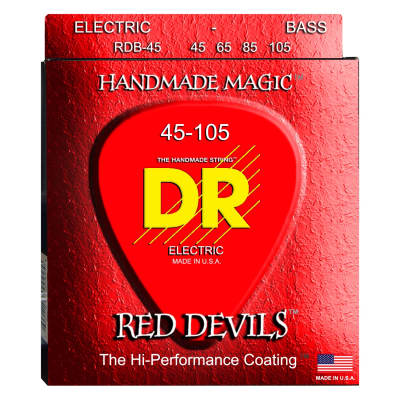 DR Strings RDB-45 Red Devils K3 Coated Electric Bass Strings, Red, 4-String Set (45-105)