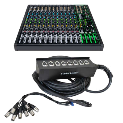 Mackie ProFX16v3 16-Channel Sound Reinforcement Mixer with Built-In FX + 32' 8 Channel Box XLR Cable Snake