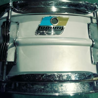 "Ludwig L-404 Acrolite 5x14"" Aluminum Snare with Rounded Blue/Olive Badge 1980s Serial#3002491"