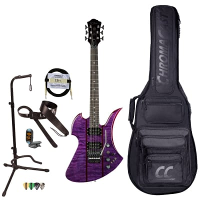 BC Rich Guitars Mockingbird Legacy ST Electric Guitar with Floyd Rose, Case, Strap, and Stand, Trans Purple