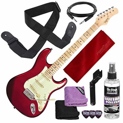 Tagima Classic Series T-635 S-Style Electric Guitar, Metallic Red with Guitar Strap and Accessory Bundle for sale