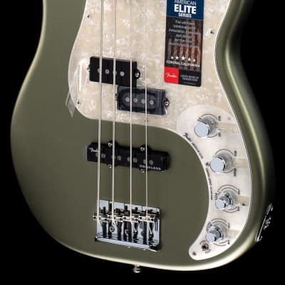 Fender American Elite Precision Bass Satin Jade Pearl Metallic Ebony (760) for sale