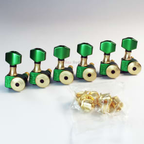 Sperzel 6-In-Line Trimlok Locking Tuners Staggered Tuning Pegs - GREEN & GOLD