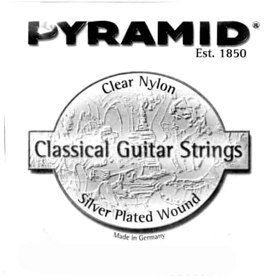 Pyramid Clear Nylon 4-D Classical Single String Silver plated wound string. Medium tension.