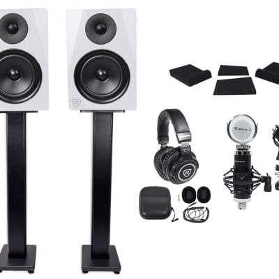 """2) Rockville DPM6W 6.5"""" 420w Dual Active Studio Monitors+Stands+Headphones+Mic"""