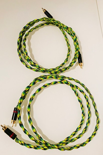 Pine Tree Audio Green Python 6 Foot Audiophile RCA Interconnects