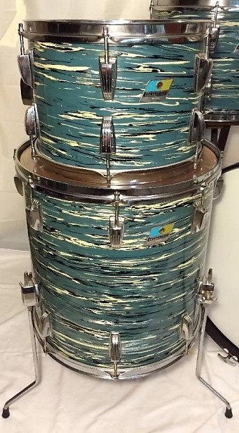 Vintage Ludwig Quot Blue Oyster Pearl Quot Drum Set Made Reverb