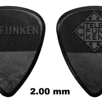 New Telefunken Elektroakustik Graphite Guitar Picks 2mm Thick Diamond (6-pack) - Black