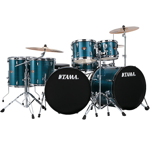 Tama Imperialstar 7pc Double Bass Drum Set Hairline Blue Limited Kit W Cymbals Hardware