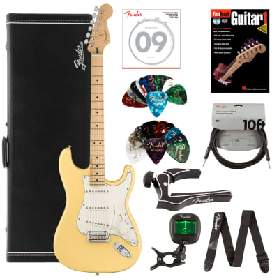 Fender Player Stratocaster, Maple - Buttercream Bundle with Hard Case, Cable, Tuner, Strap, Strings, Picks, Capo, Fender Play Online Lessons, and Austin Bazaar Instructional DVD for sale