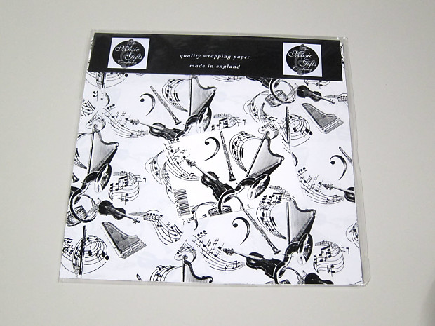 3 sheets /& 3 tags Instrument White Music Gift Wrap