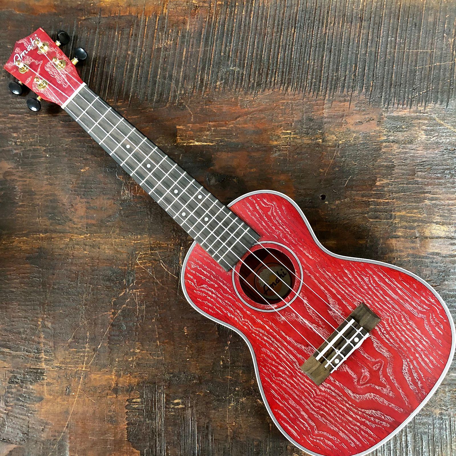 Amahi Classic Quilted Ash C-22 Red Concert Ukulele