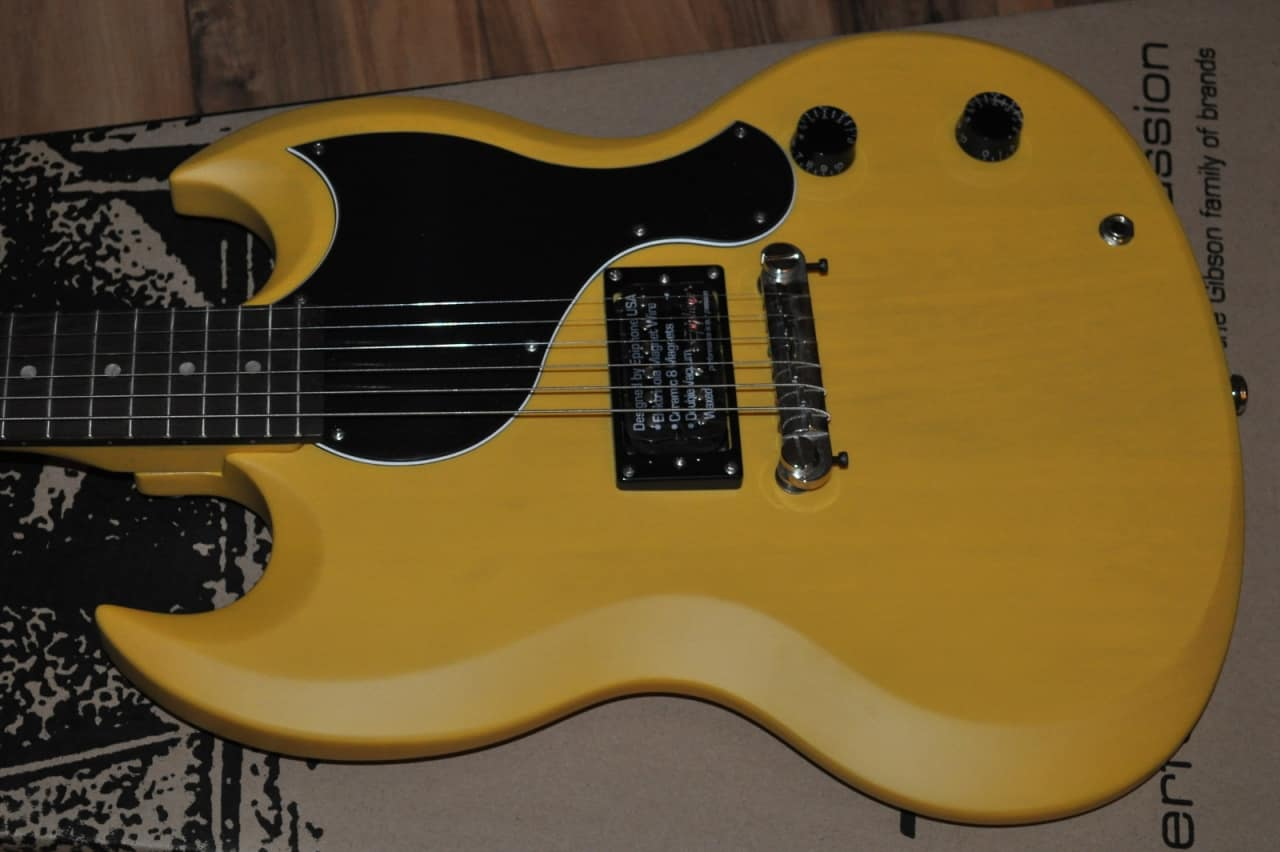 2011 limited edition epiphone sg junior worn tv yellow reverb