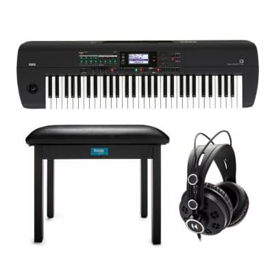 Korg i3 61Key Music Workstation (Matte Black) Bundle with Knox Bench & Headphone