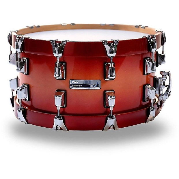 taye studio maple 14x7 snare drum with wood hoops candy red reverb. Black Bedroom Furniture Sets. Home Design Ideas