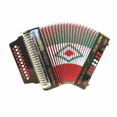 Rossetti Azteca 3112 31 Button 12 Bass Accordion FBE, Red/White/Green