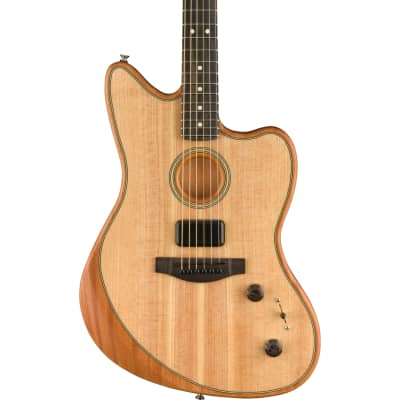 Fender American Acoustasonic Jazzmaster Acoustic-Electric Guitar, Ebony Fingerboard, Natural w/ Bag