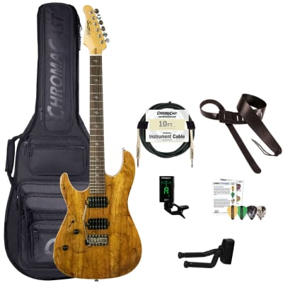 Sawtooth Natural Series Left-Handed Spalted Maple 24-Fret Electric Guitar w Humbucker Pickups, Gig bag & ChromaCast Accessories for sale
