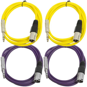 """Seismic Audio SATRXL-M6-2YELLOW2PURPLE 1/4"""" TRS Male to XLR Male Patch Cables - 6' (4-Pack)"""