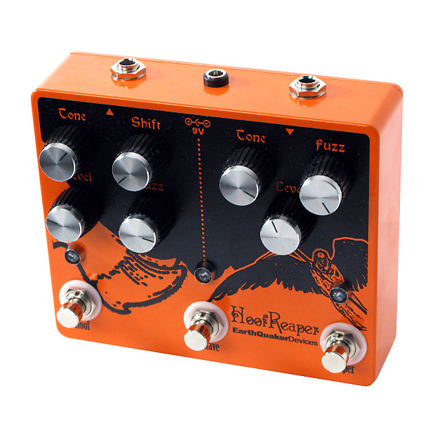 EarthQuaker Devices Hoof Reaper Octave Fuzz Limited Edition Orange with  custom color knobs