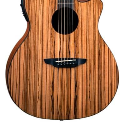 Luna GYP E ZBR Gypsy Acoustic-Electric Guitar, Zebrawood for sale