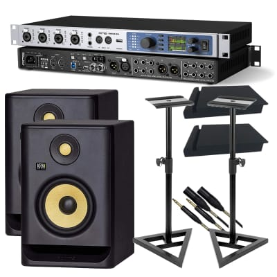 RME Fireface UFX+ - KRK RP5G4 Pair - Monitor Stands - (2) Mogami Cables - Foam Pads