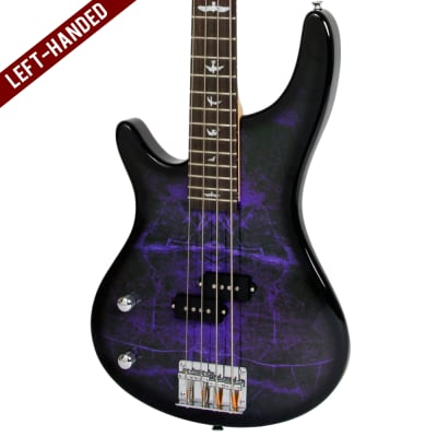 Lindo Left Handed PDB Purple Dove Electric Bass Guitar & Padded Gig Bag for sale