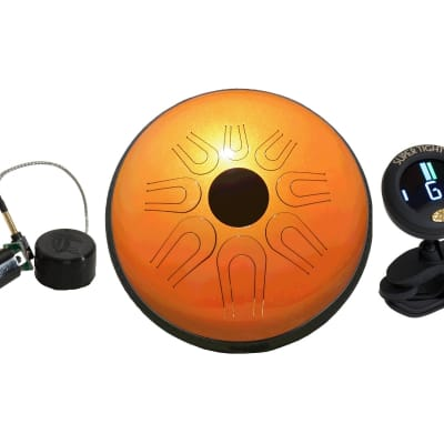 """Package Includes: 14"""" Tunable Steel Tongue Drum - Fusion Orange + Electric Pickup For 12"""" Idipoan St"""