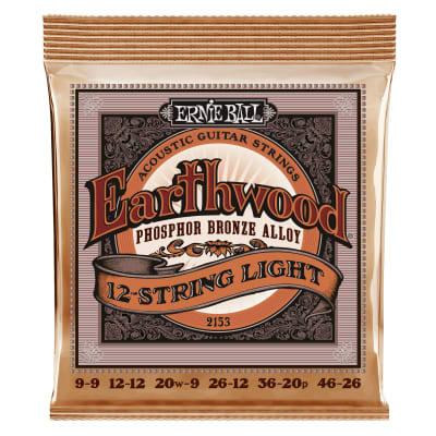 Ernie Ball Earthwood 12-String Light Phosphor Bronze Acoustic Guitar Strings - 9-46 Gauge