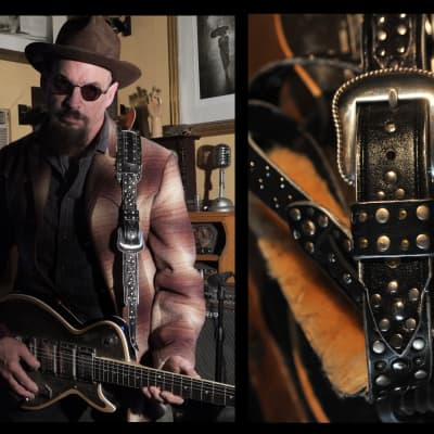 Postal Handmade Black Vintage Leather Guitar/Bass Strap with Silver Studs Sheepskin Shoulder Pad