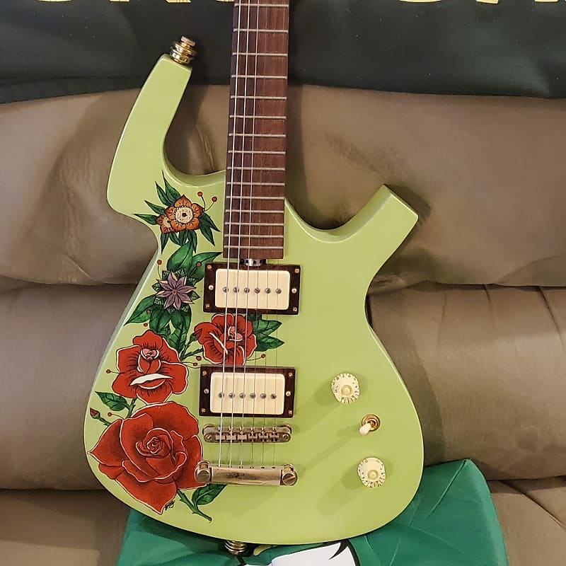 Custom Parker 2015 Pistachio Green p-90 pickups hand painted flowers