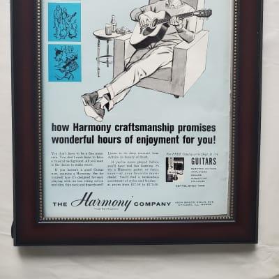 1964 Harmony Guitars Color Promotional Ad Framed Harmony Sovereign Original