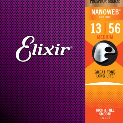 Elixir Strings 16102 Acoustic Phosphor Bronze w/ Nanoweb Coating Medium 13