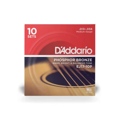 D'Addario EJ17-10P Phosphor Bronze Acoustic Guitar Strings 10-Pack, Medium Gauge