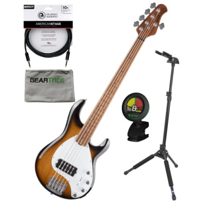 Ernie Ball Music Man StingRay 5 Special Vintage Tobacco Roasted Maple Neck/FB 5-String Bass w/Case, Cloth, Tuner, Stand, Cable