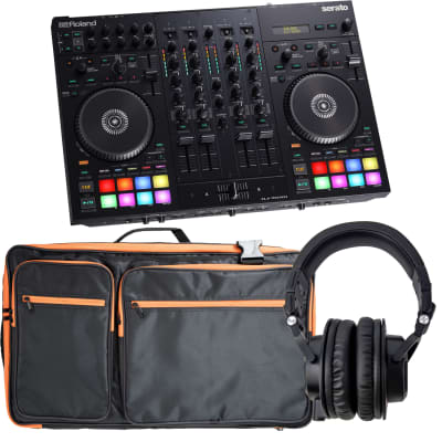 Roland DJ-707M 4-Channel DJ Controller, Accenta ACC-806 Bag, Tascam TH07 Bundle