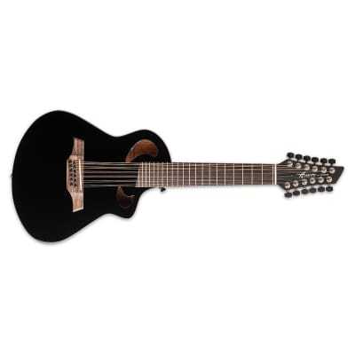Avante by Veillette Gryphon Black Acoustic-Electric Short Scale 12-String Guitar with Soft Case for sale
