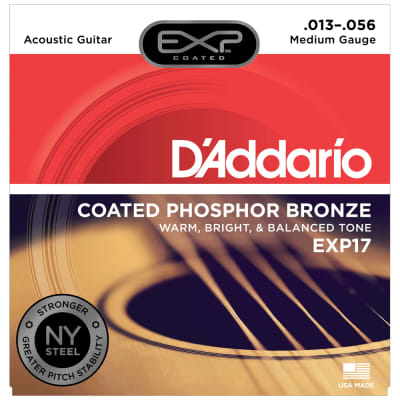 D'Addario EXP17 Coated Phosphor Bronze, Medium, .013-.056