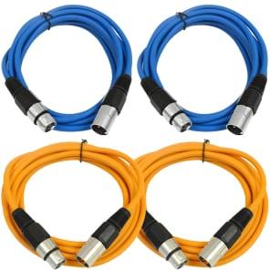 Seismic Audio SAXLX-10-2BLUE2ORANGE XLR Male to XLR Female Patch Cables - 10' (4-Pack)