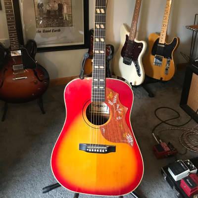 Vintage Lotus Hummingbird Copy 1970's Cherry Sunburst Dreadnaught Guitar for sale