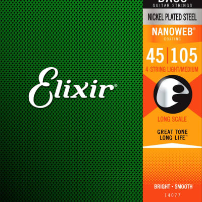 Elixir 14202 Nanoweb Nickel Plated Steel 4-String Electric Bass Strings - Light (45-105)