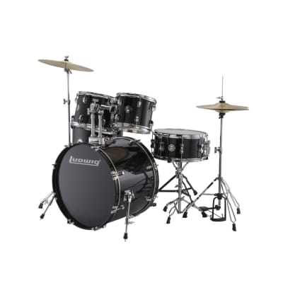 Ludwig Accent Drive Black 5-Piece Drum Set (Includes Hardware, Throne, Pedal, Cymbals, Sticks and Drum Key)