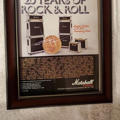 1982 Marshall Amps Color Promotional Ad Framed 20th Anniversary JCM 800 Original