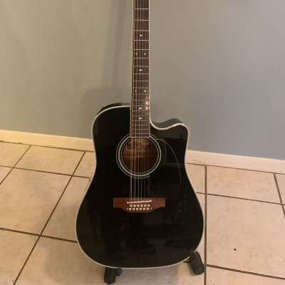 Takamine EF381SC BLK  12-String Dreadnought Cutaway Acoustic/Electric Guitar Gloss Black