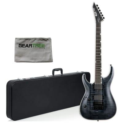 ESP LTD MH-1000 Evertune LEFT-HANDED See-Thru Black Electric Guitar w/ Hard Case, Cloth