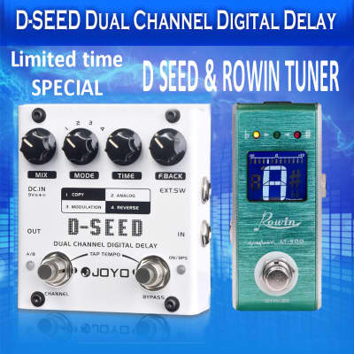 JOYO D-Seed Dual Chanel Delay Analog Digital Reverse TAP Tempo 4 Modes & Rowin Tuner Free US Ship for sale