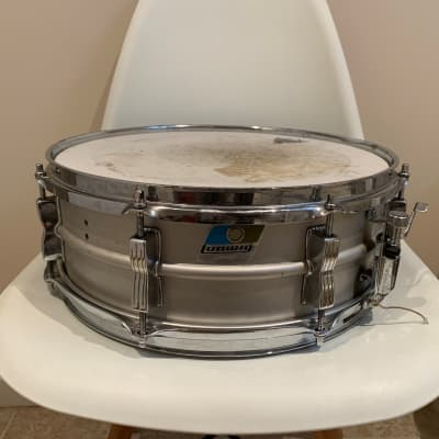 "Ludwig L-404 Acrolite 5x14"" Aluminum Snare with Rounded Blue/Olive Badge 1980s"