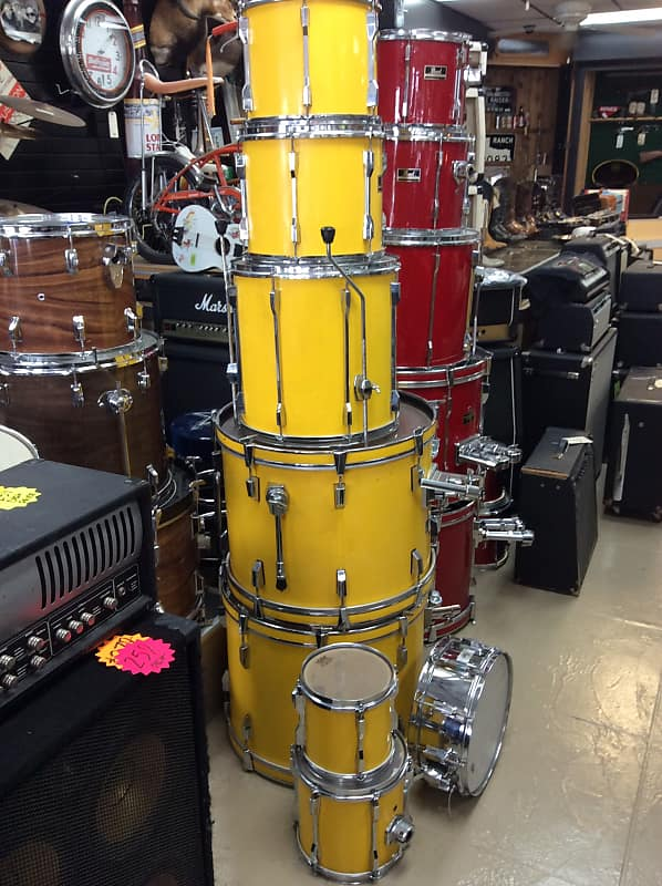 Pearl Export Series 8pcs Drum Set W Snare 1980 S Yellow Reverb